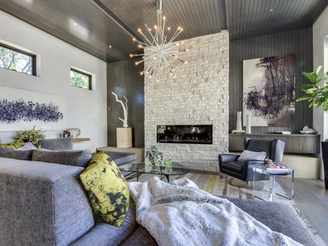Schon Kronleuchter Metall Led Lampen Modernes Wohnzimmer Steinkamin