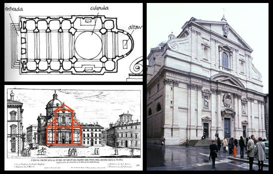 38 Il Gesu En 1545 Proyecto De Vignola Fachada De Giacomo Della