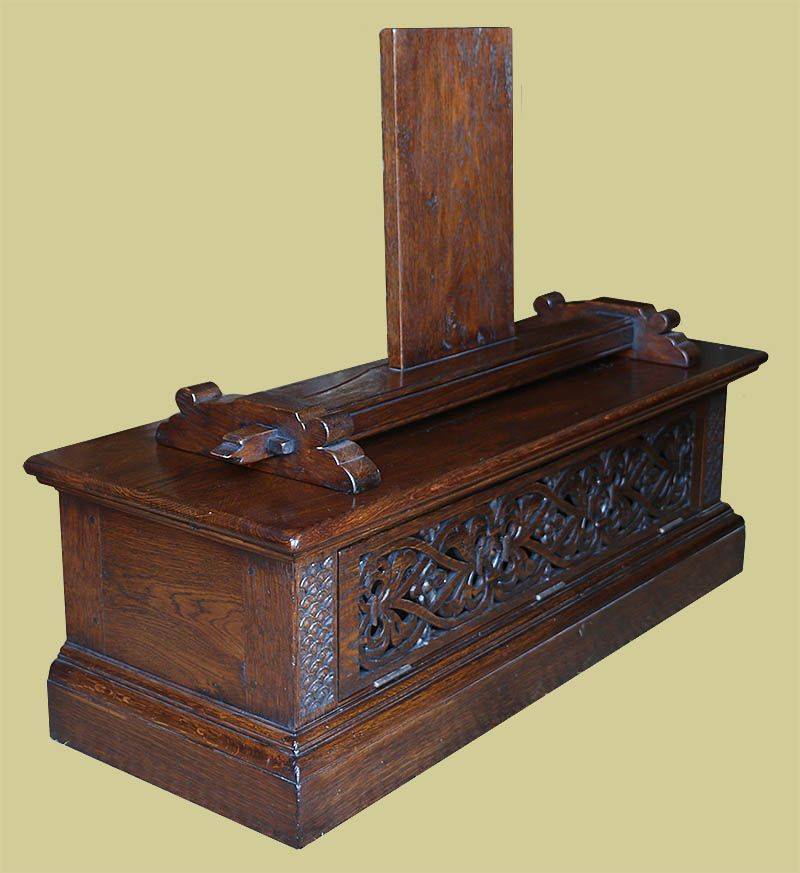 Elizabethan Strapwork Style Oak TV Stand With Custom Designed Mount