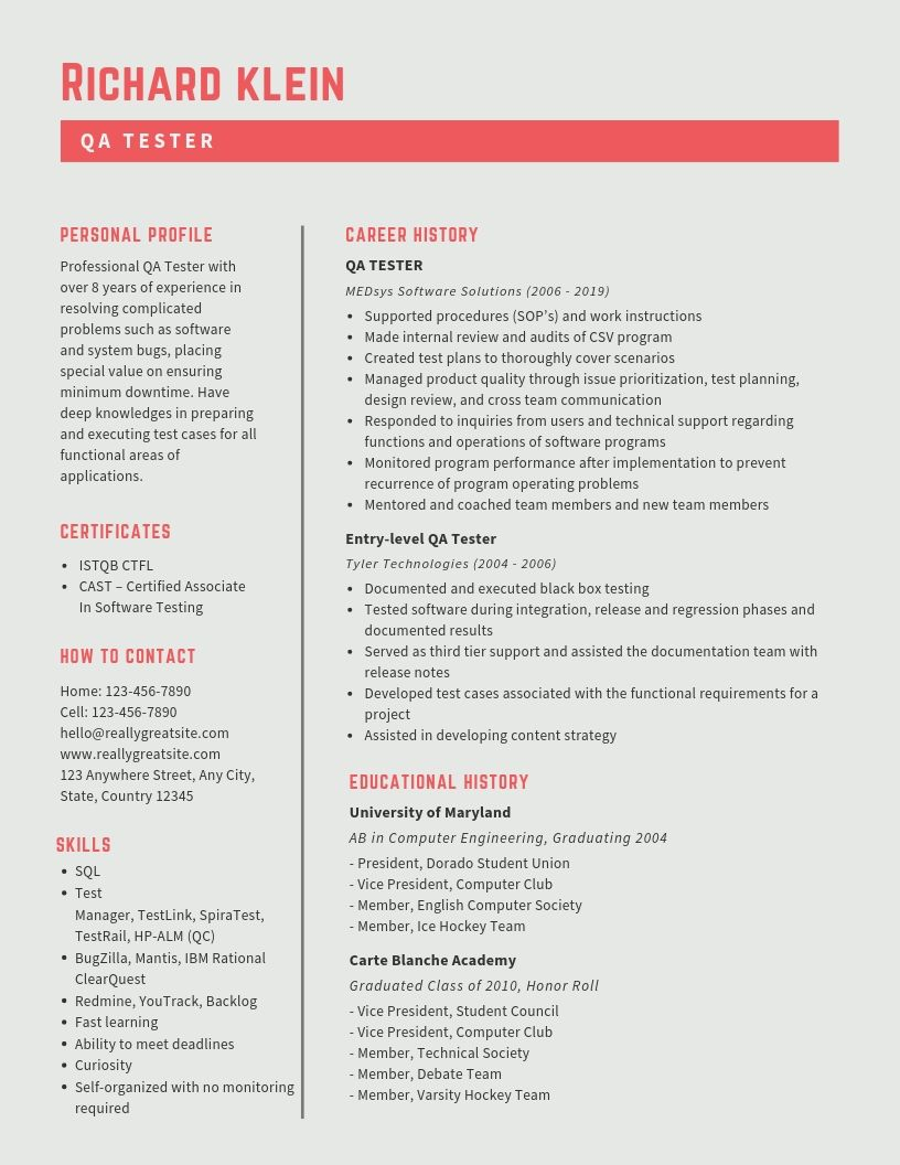 QA Tester Resume Samples & Templates [PDF+Word] 2019