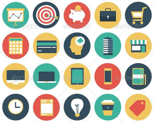 Flat Modern Business Vector Icon Set — PSD