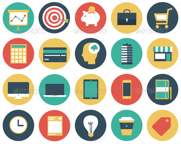 Flat Modern Business Vector Icon Set — PSD