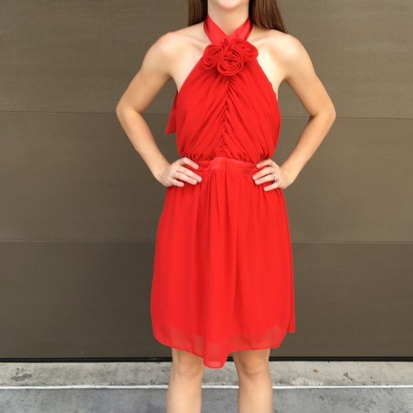 """Red Chiffon Dress """"I wore this for a banquet event. The cut on the front was ultra flattering with my shoulders and fuller chest. The Mannequin is much smaller than me so the dress is sliding in the back. I have worn the dress twice.  Rose red color. Fits like a 6/8"""" - from our client who owned the dress. Model shown is a size 2, you can see under her arms where it is too big. But wanted to showcase length. Dresses Prom"""