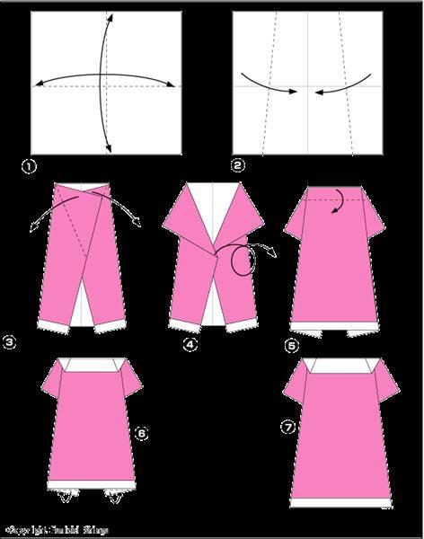 Оригами из бумаги открытка с платьем, прикольное