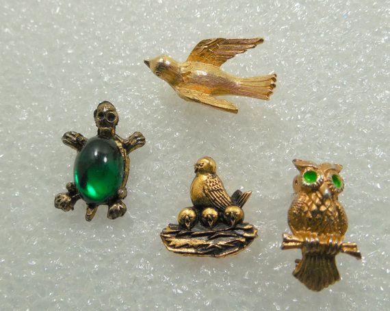 Lot of 4 Lapel Pins & Jewelry Owl Brooch Turtle by Beadgarden55
