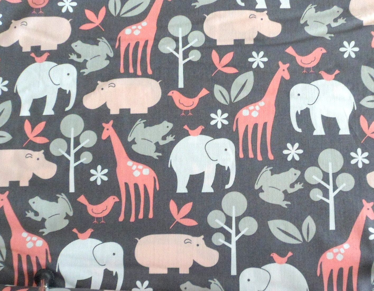 pink grey fabric modern animal fabric hippo material giraffe