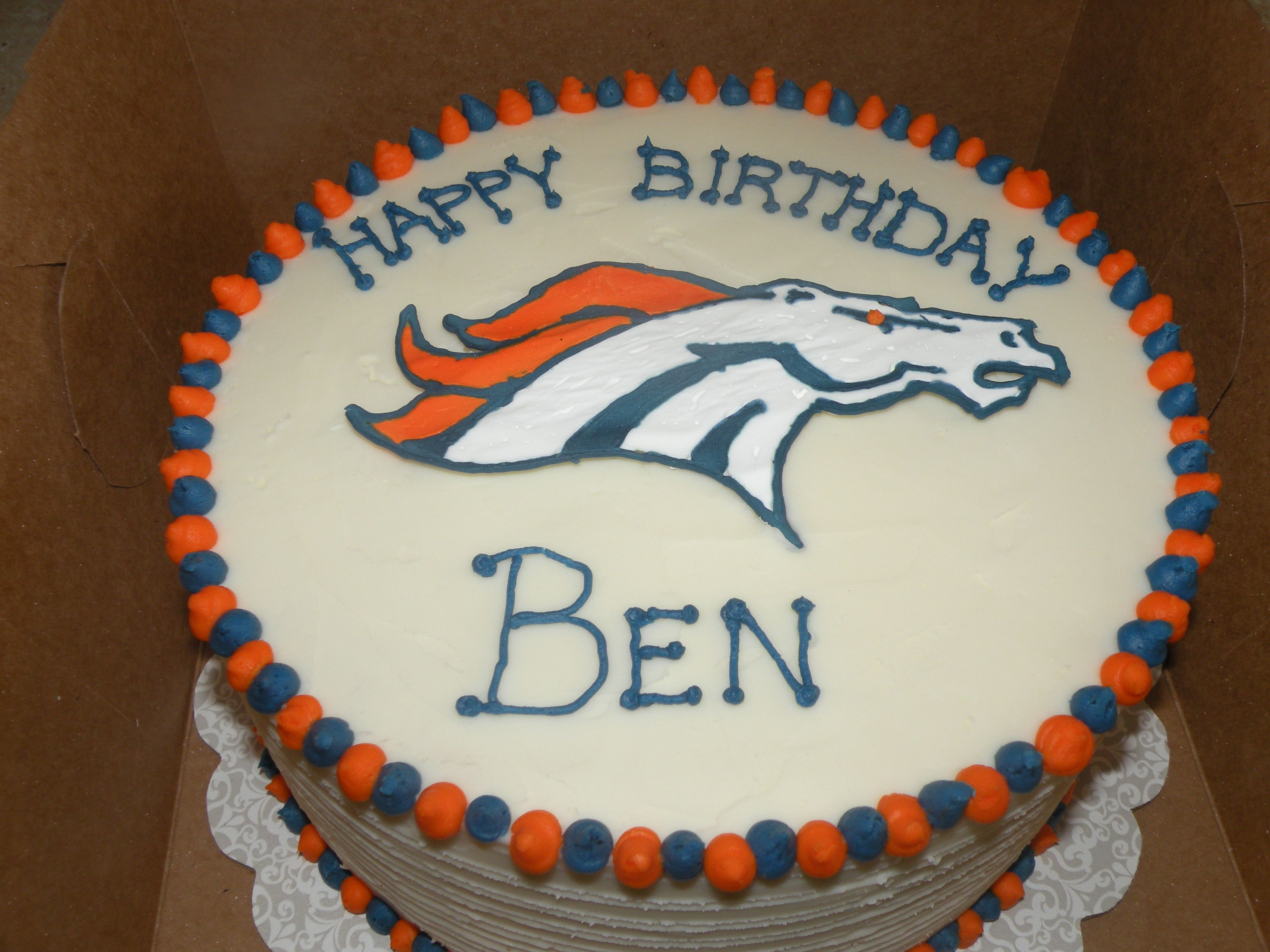 Broncos Birthday Cake 10 Wasc With Buttercream First Attempt At