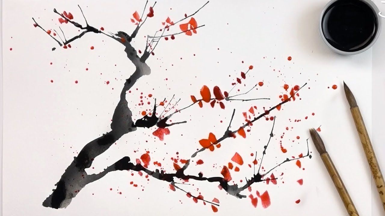 2 Hacks How To Paint Cherry Trees Using A Straw And Cotton Swabs