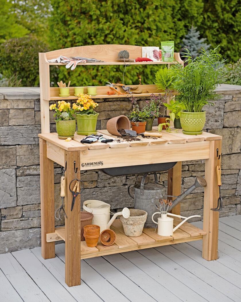 Potting Bench Cedar Potting Table With Soil Sink And Shelves Potting Bench Plans Potting Tables Plastic Bins