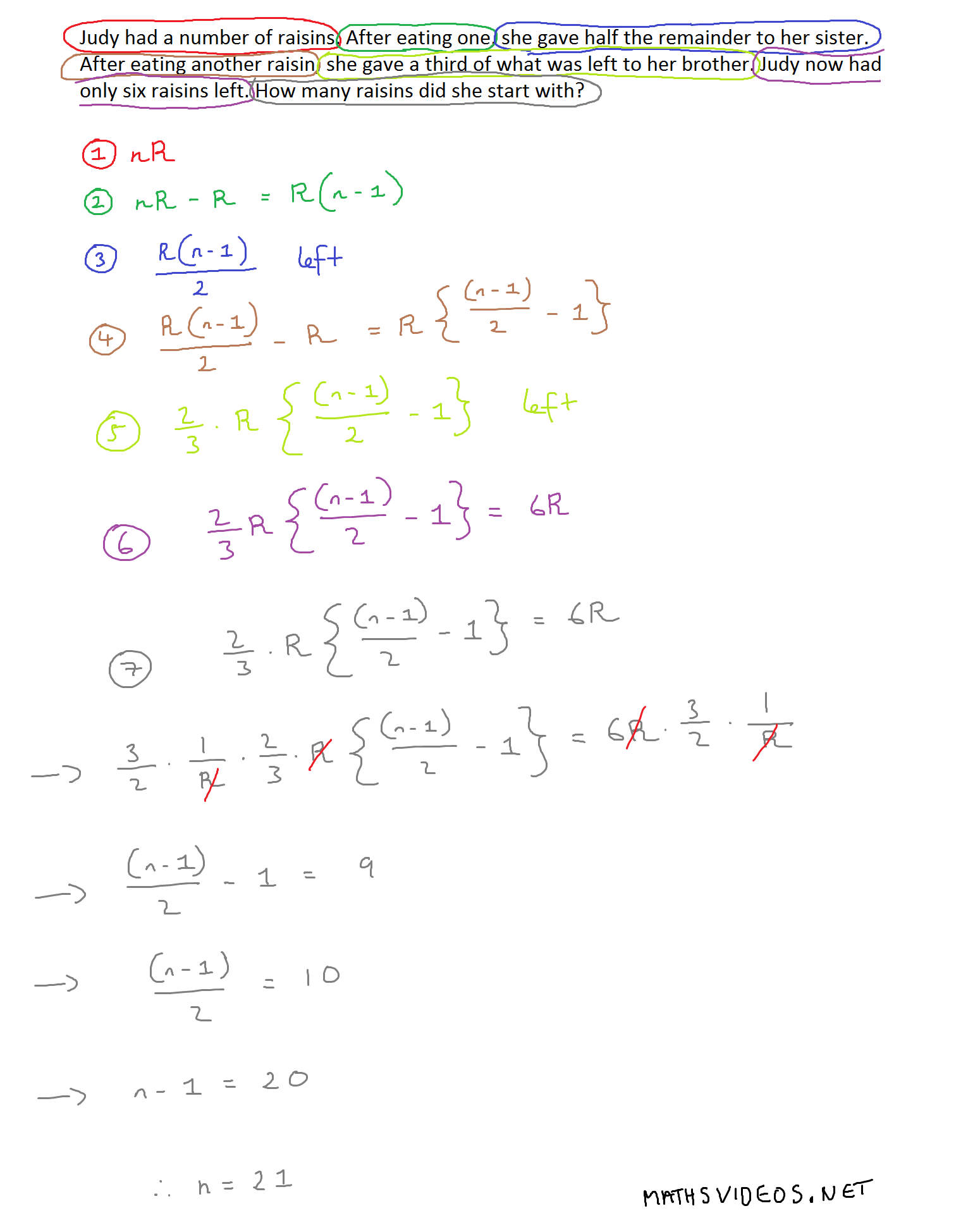 Judy Raisins Problem Solved Mathematics Amp Iq
