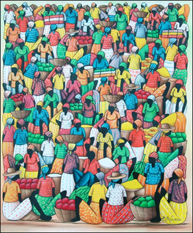 Busy Market with Fruit and Baskets by Jean Louisius