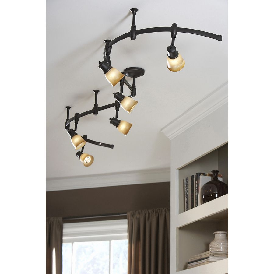 Shop Portfolio Standard Bronze Decorative Flexible Track Light with Tea stained Glass at Loweu0027s Canada. Find our selection of track lighting kits at the ...  sc 1 st  Pinterest & Shop Portfolio 6-Light Bronze Decorative Flexible Track Light with ... azcodes.com