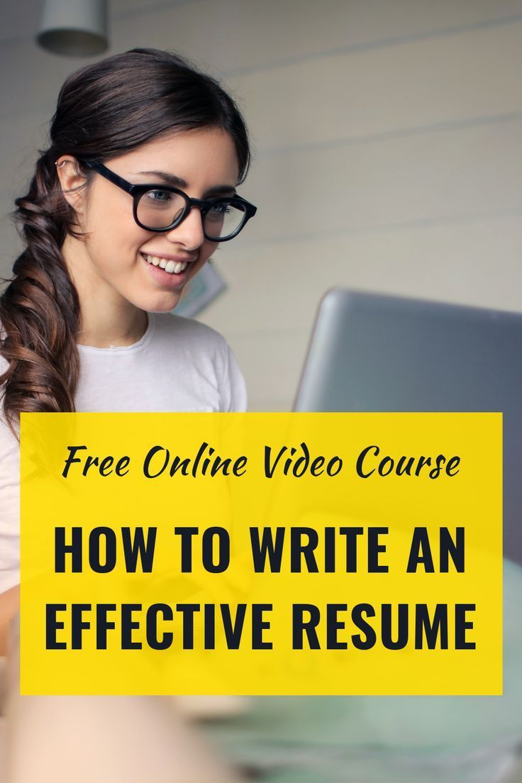 Video Course How to write a resume Effective resume