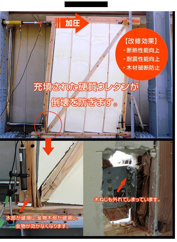 硬質発泡ウレタンの注入による木造住宅耐震改修工法(耐震+断熱) 性能試験の様子
