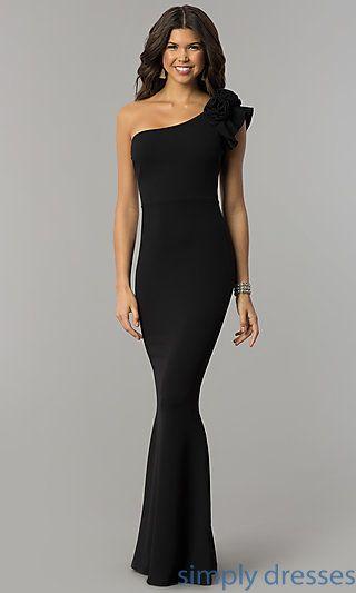 Ruffled One Shoulder Formal Long Jersey Dress F A M O U S