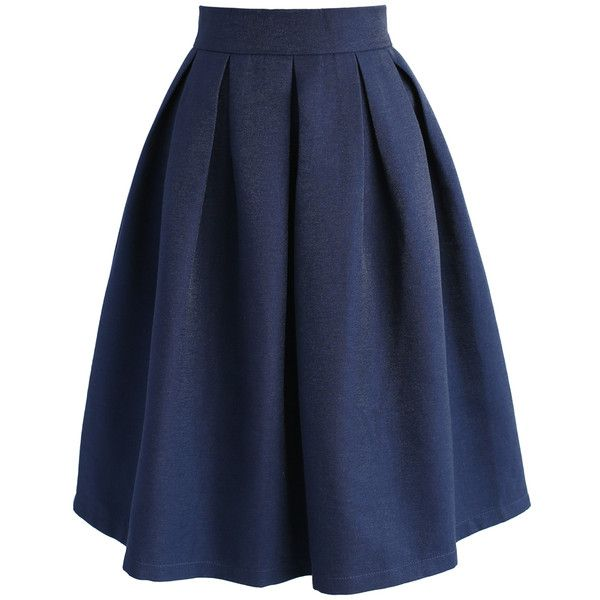 Chicwish Retain My Classic A-line Skirt in Navy ($45) ❤ liked on Polyvore  featuring skirts, blue, knee length a line skirt, navy pleated skirt, nav…