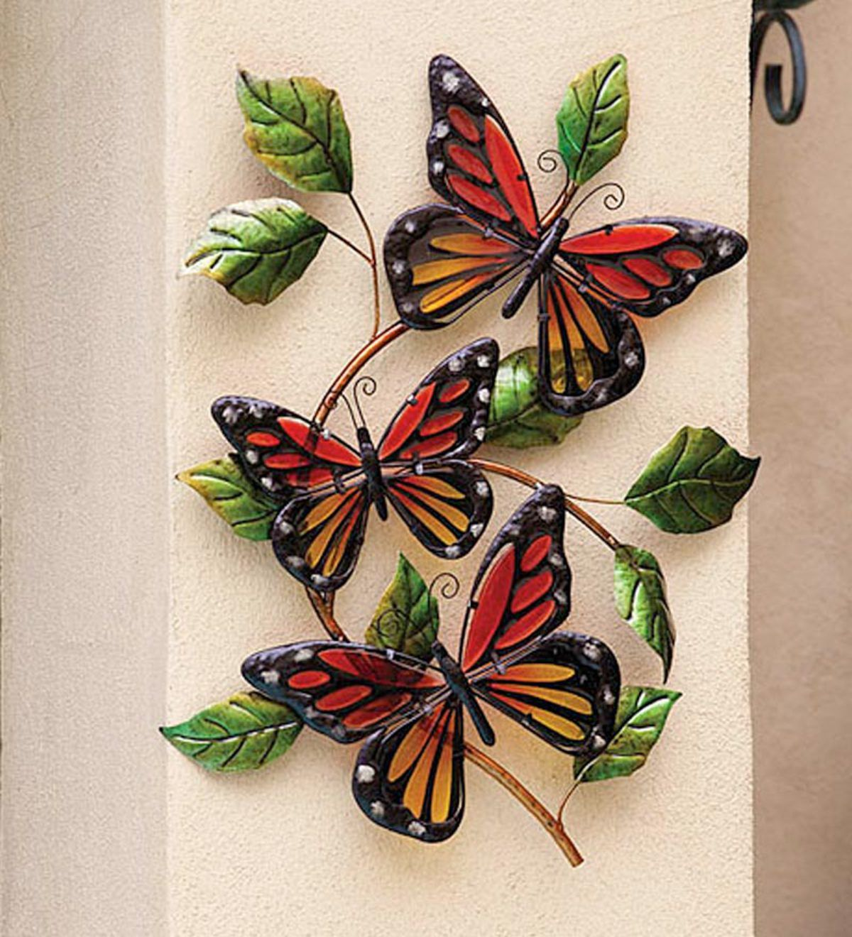 P Three Graceful Glass Monarch Butterflies Light On A Curved Leafy Branch To Add A Touch Of Spring To A Butterfly Wall Art Butterfly Wall Metal Tree Wall Art
