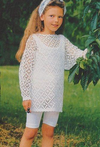 Bílý krajkový pulovr - NÁVODY NA HÁČKOVÁNÍ  5b1d89a2ea