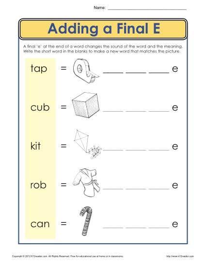 ending letter e worksheet fun reading language arts ideas phonics worksheets letter e. Black Bedroom Furniture Sets. Home Design Ideas