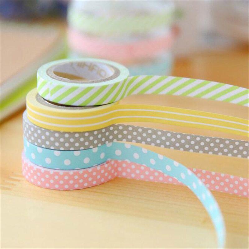 5 pcs/lot DIY Cute Kawaii Candy Color Washi Tape Lovely Dot Stripe ...