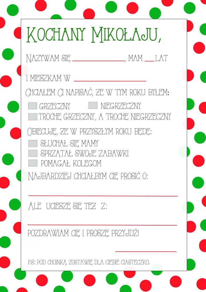 List Do Mikolaja Darmowy Szablon Do Druku Partymika Christmas Crafts For Kids Christmas Color By Number Calendar Organization