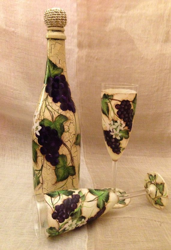 Astonishing Hand Painted Grapes and Vines Set of Bottle and Champagne Flutes via Etsy