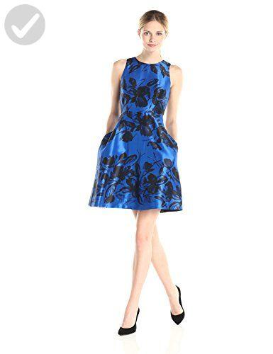 Donna Morgan Womens Fit And Flare Printed Dress Royal Blueblack