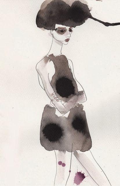 Fashion illustration I by Marie El-Ahmar I water colour I sketch I adrogynous illustration girl @monstylepin