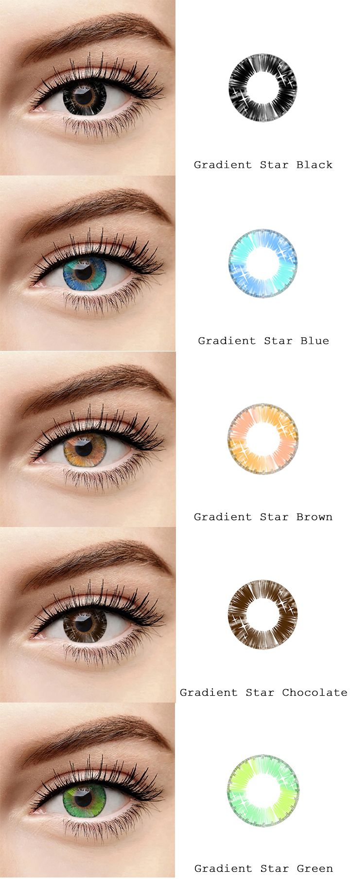 7e304db55b microeyelenses.com Colored contact lenses online shop. Gradient Star  series  Black
