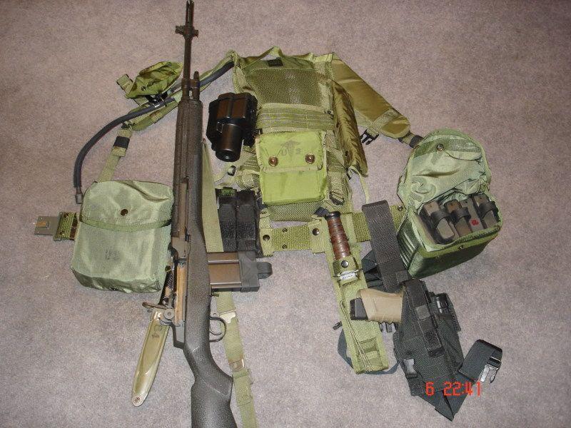 alice web gear setup for m14 7 62 rifle m6 bayonet k bar fixed