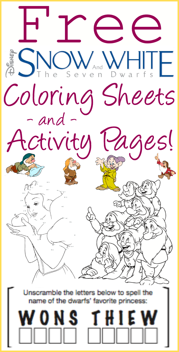 Free Printable Snow White And The Seven Dwarfs Coloring Sheets And