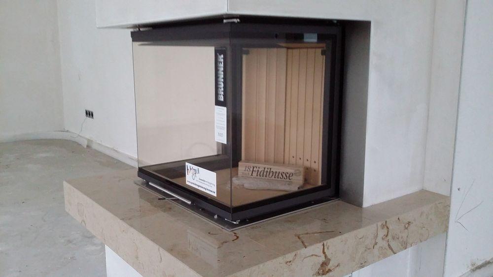 brunner panorama kamin 40 60 40 mit naturstein feuertisch ofen kamineinsatz in m bel wohnen. Black Bedroom Furniture Sets. Home Design Ideas