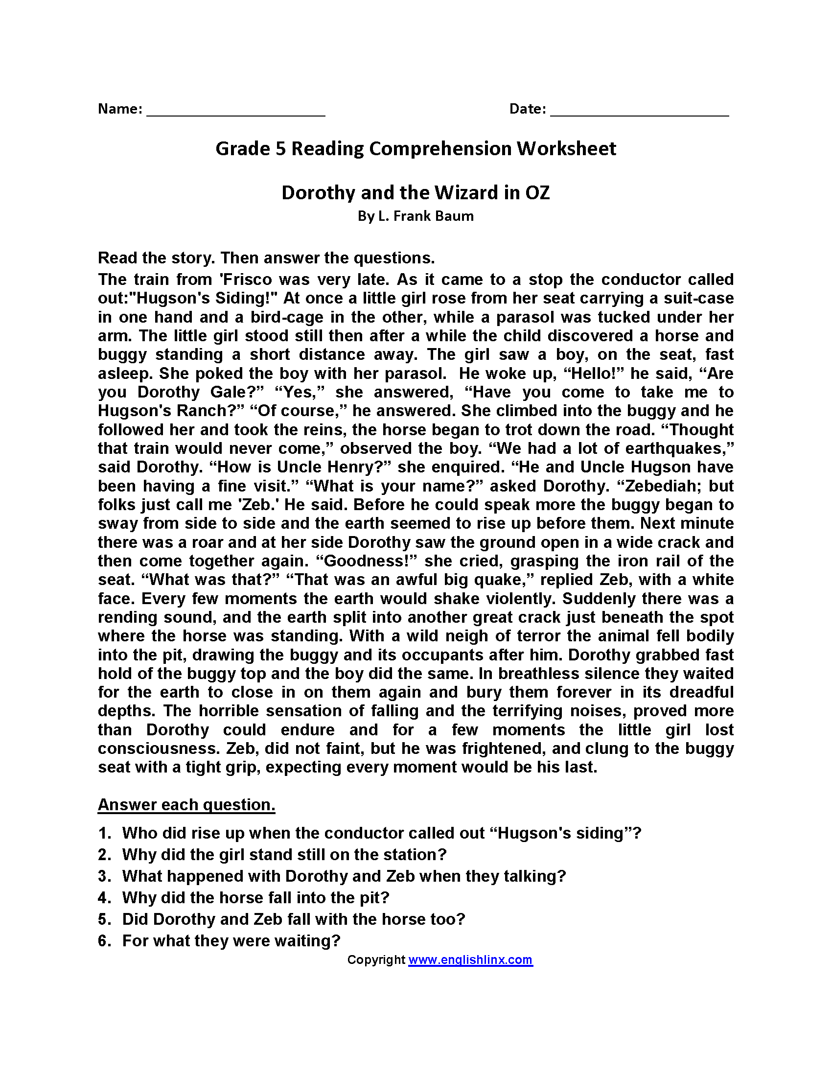 Dorothy Wizard Of Oz Fifth Grade Reading Worksheets