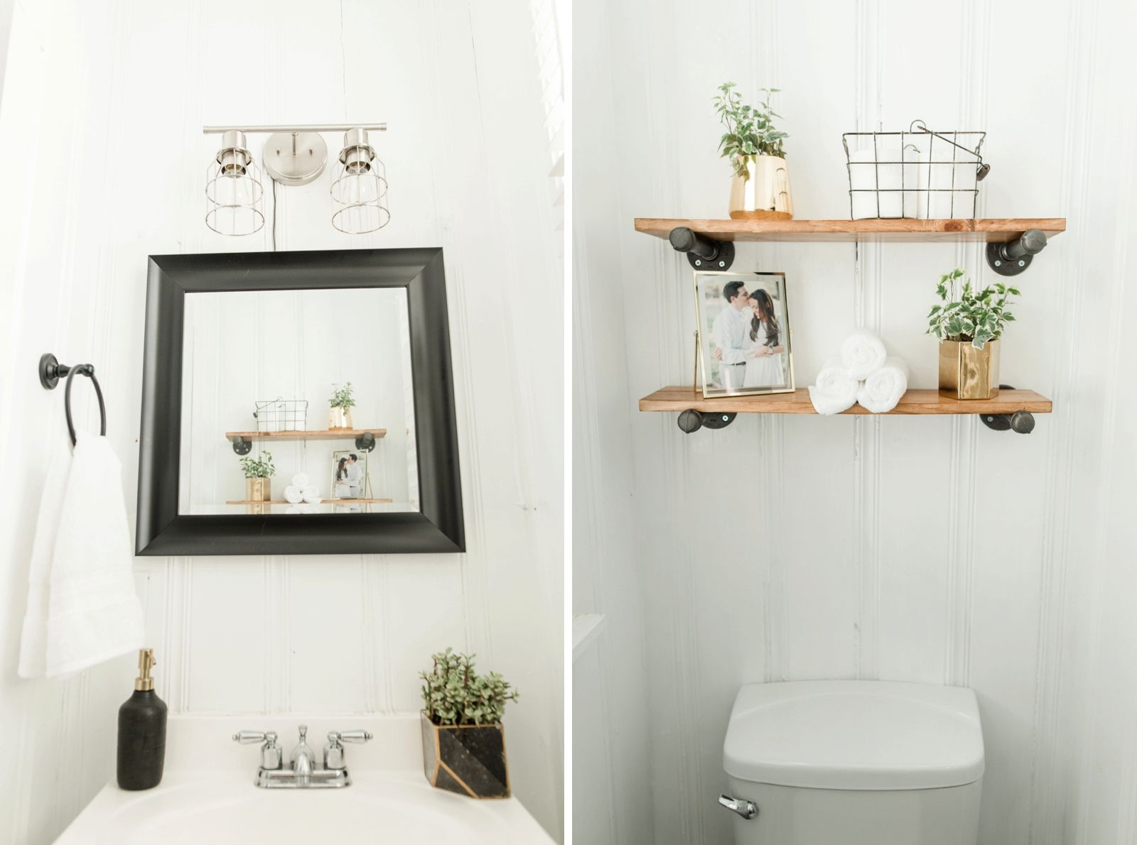 tiny half bath bathroom makeover in old craftsman home with gold white and black accents