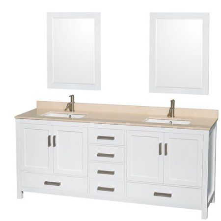 Wyndham Collection Sheffield 80 inch Double Bathroom Vanity in White