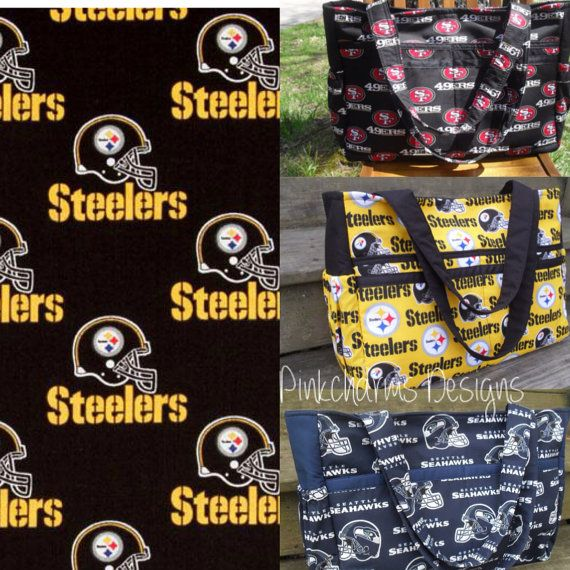 Custom made to order NFL Pitsburgh Steelers ultimate diaper bag with magnetic snap on Etsy, $60.00