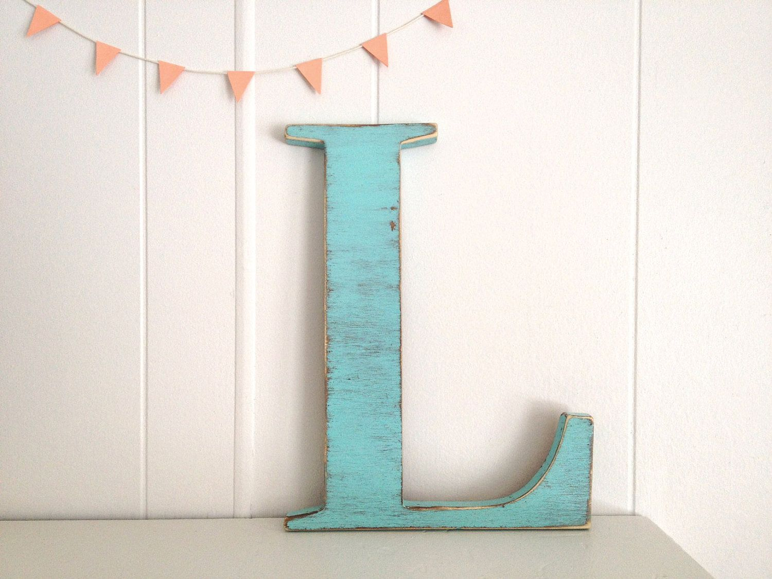 decoration wood letters french cottage wall decor letter l light turquoise 3200 via - Letter Decor
