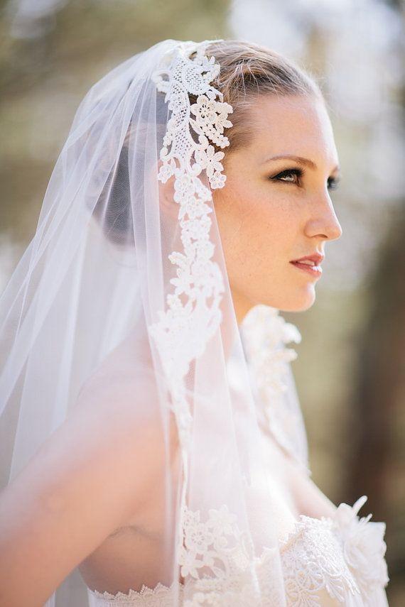 Grace Ivory Lace Mantilla Veil By Marisol Aparicio On Etsy