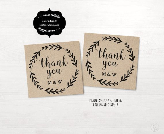 Woodland Wreath Favor Tags, Printable Wedding Favor Tag Template - wedding labels template