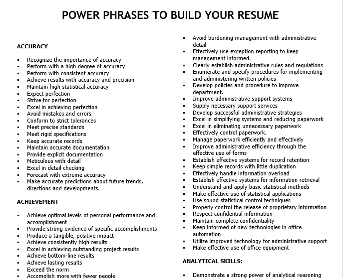 Power Phrases To Build Your Resume Build Your Resume Good Cv Job Info