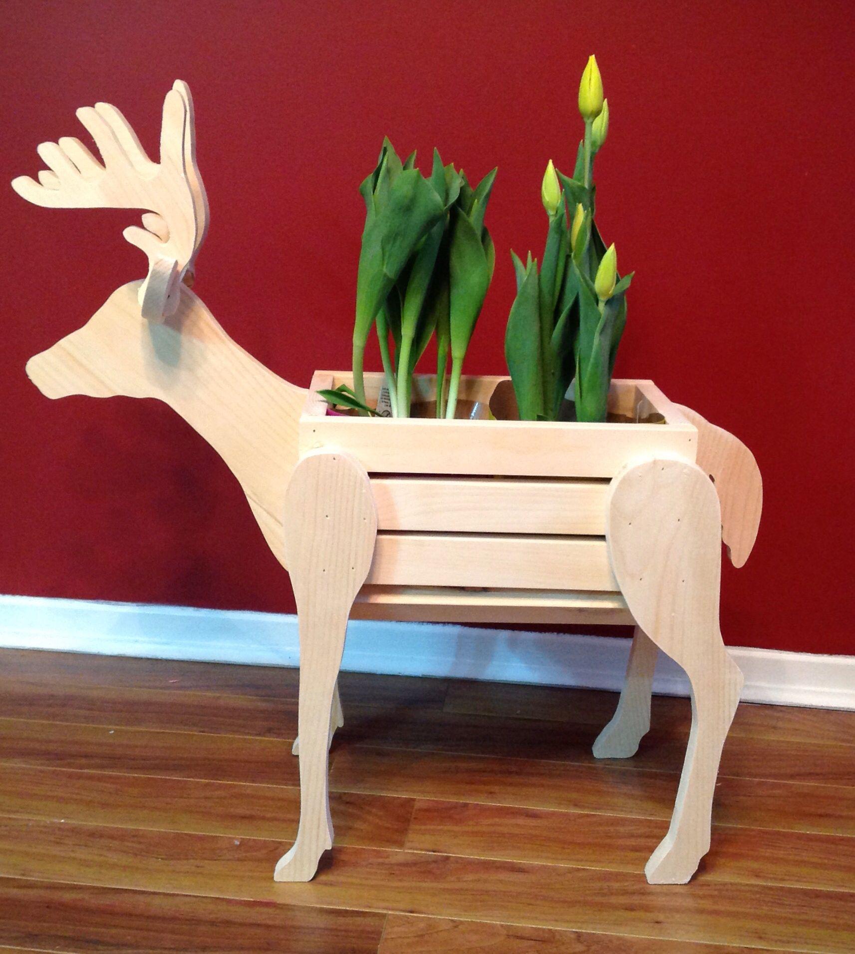 Wooden deer flower pot holder. Holds 2 6