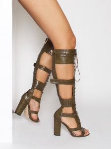 Arya Khaki Croc Velcro Lace Up Knee High Heels  d2a7fc383ad