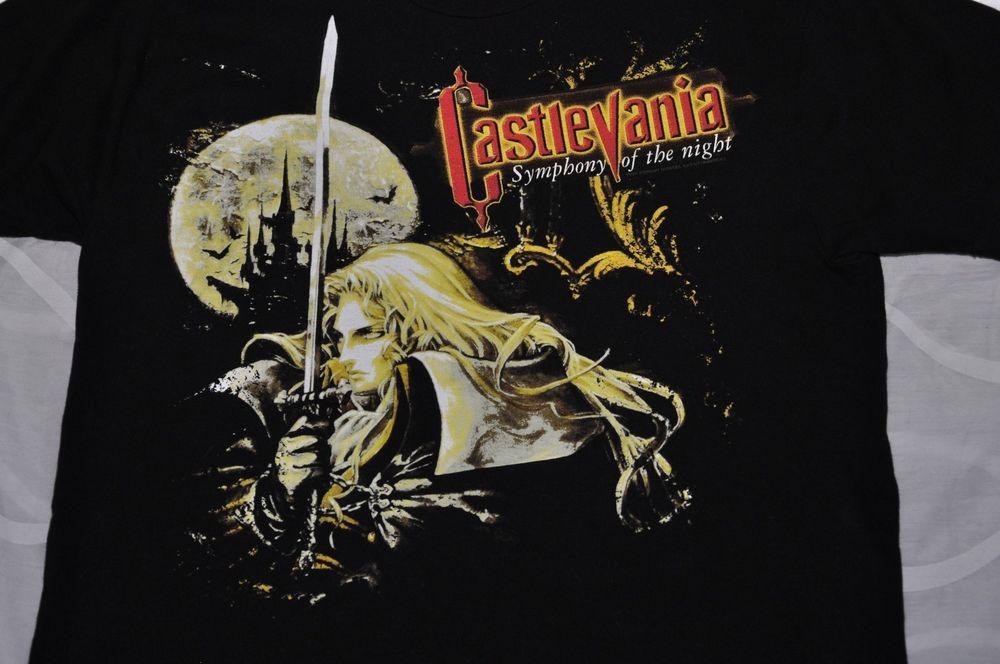 Castlevania Gaming Symphony Of The Night Men/'s Black Tees Shirt Clothing