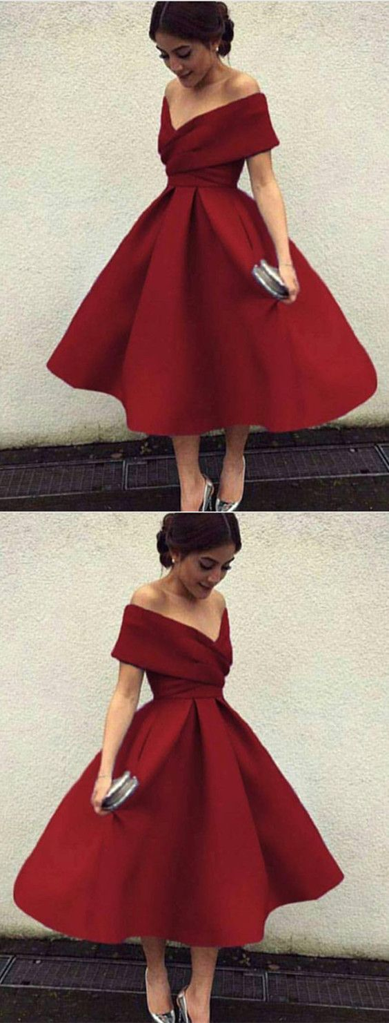 Burgundy homecoming dress v neck prom dressoff the shouldertea