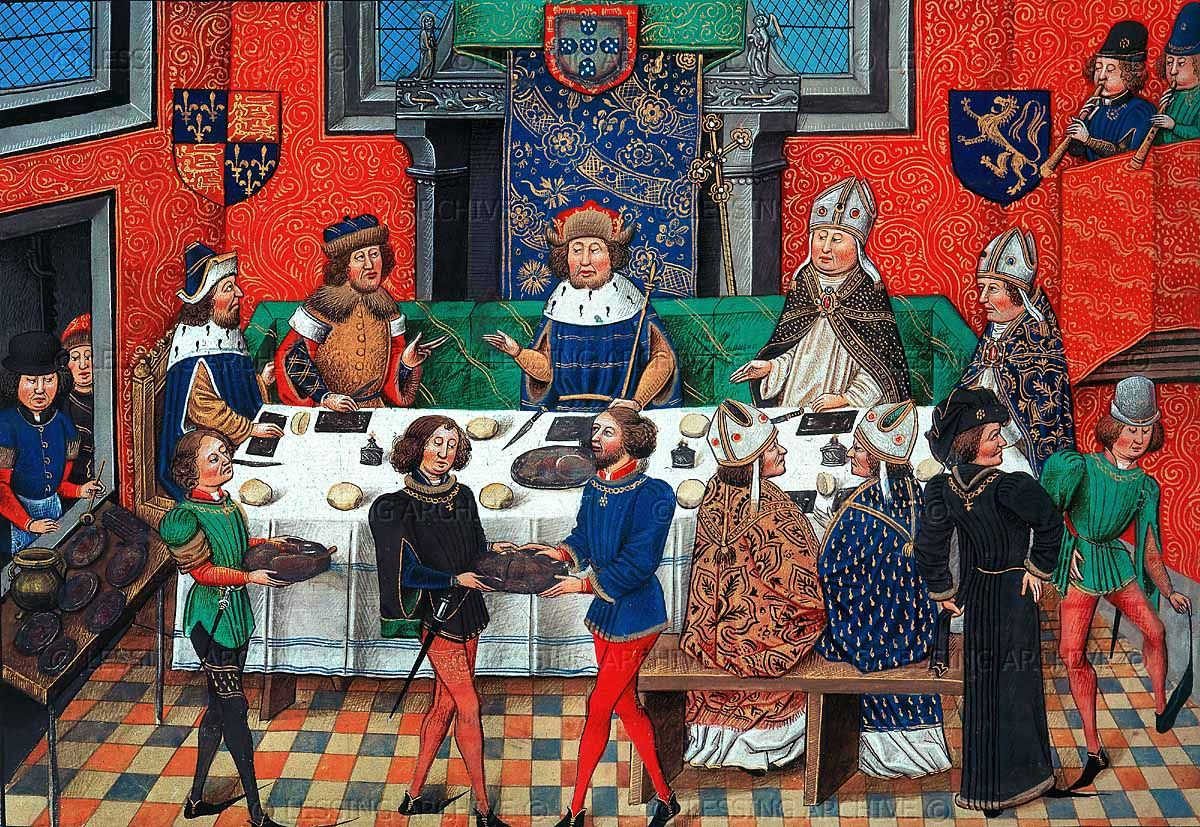 John of Gaunt dining with the King of Portugal - 15th century - even high-ranking guests sitting on both sides of table