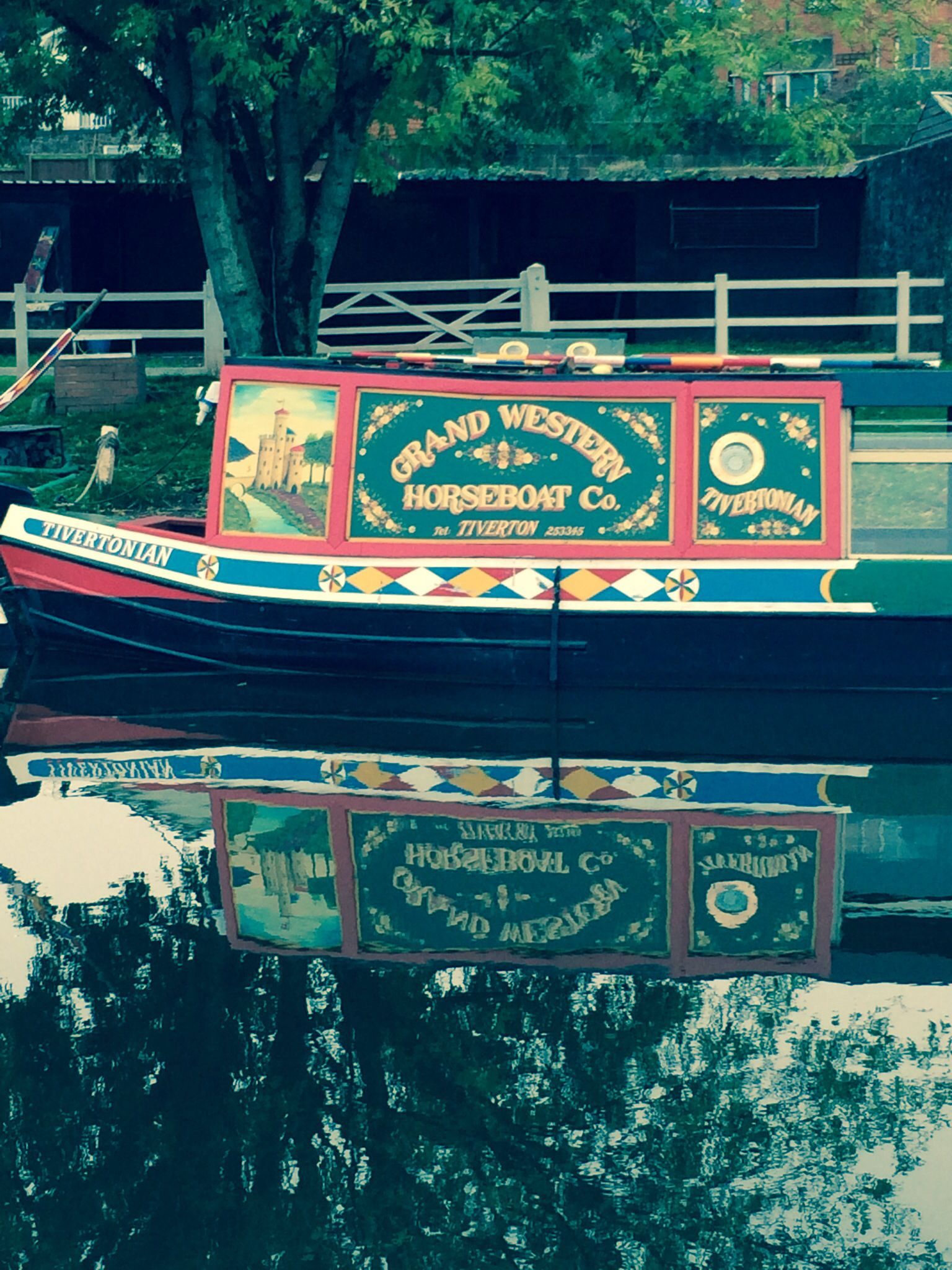 Tiverton, Devon. Reflections on the canal.