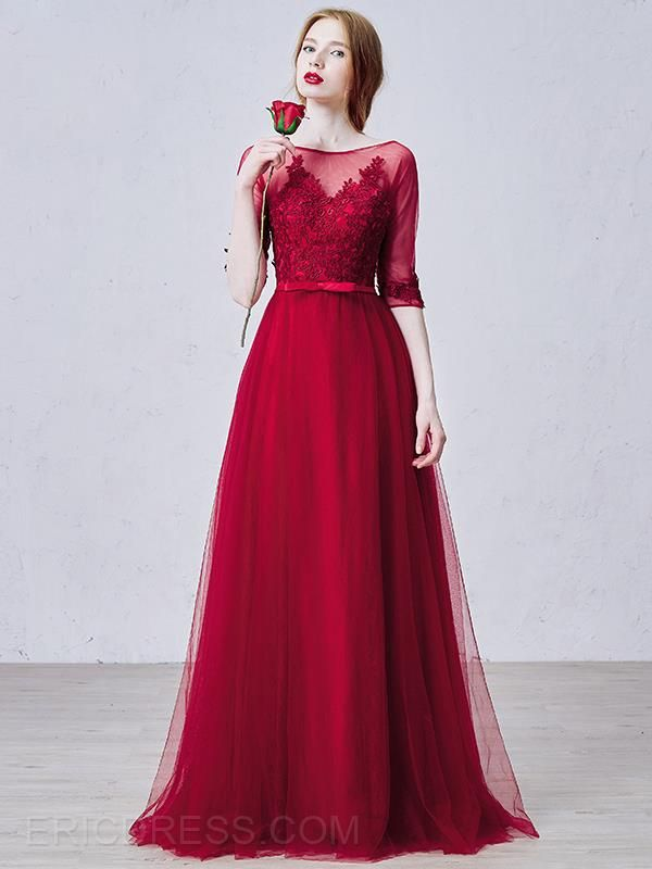 73a7034f8db7a Ericdress Half Sleeves Appliques Jewel Neck Long Evening Dress ...