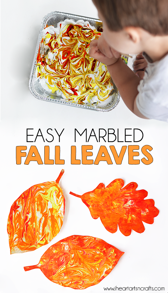 Easy Marbled Fall Leaves #fallcraftsforkidspreschool