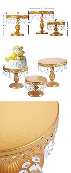 Cake Stand Set 6pcs Golden Metal Crystal Cake Holder Cupcake