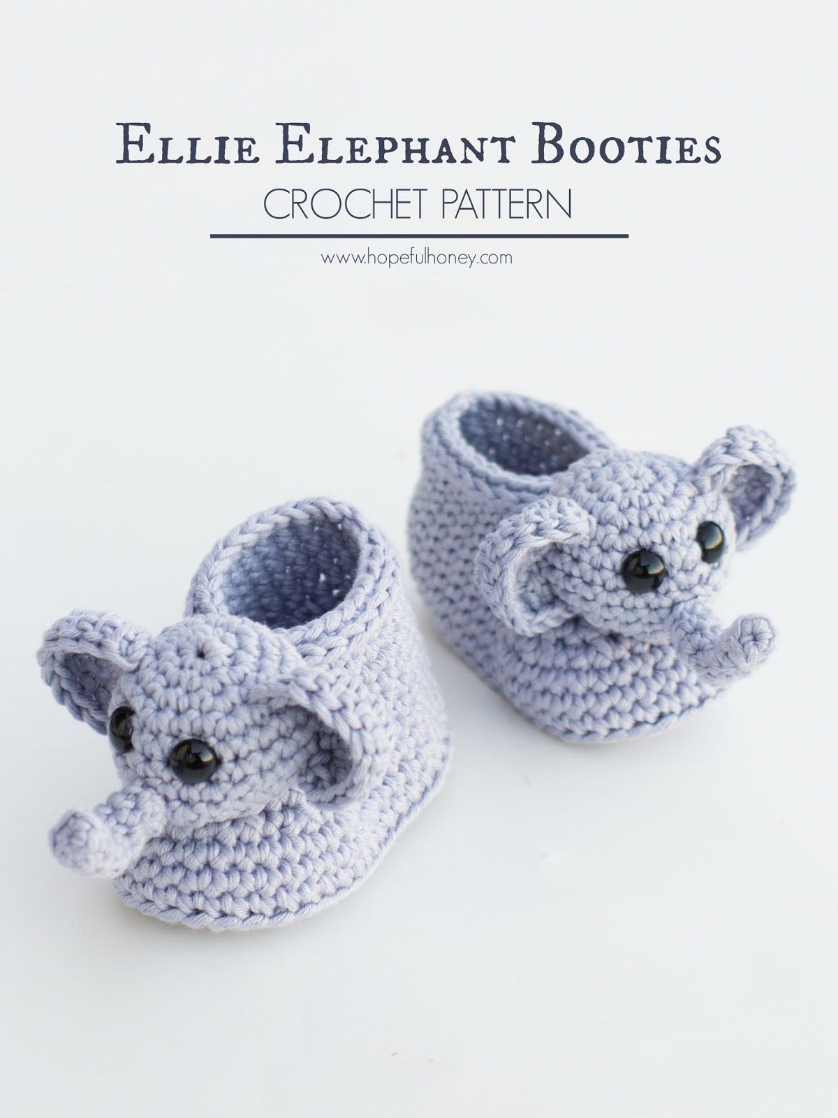 Ellie The Elephant Baby Booties - Free Crochet Pattern | Things to ...